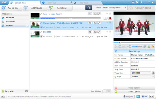 screenshot of avc free for windows